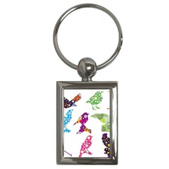 Birds Colorful Floral Funky Key Chains (rectangle)  by Amaryn4rt