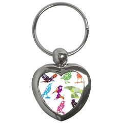 Birds Colorful Floral Funky Key Chains (heart)  by Amaryn4rt