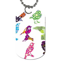 Birds Colorful Floral Funky Dog Tag (one Side) by Amaryn4rt