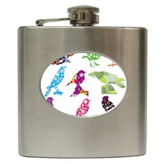 Birds Colorful Floral Funky Hip Flask (6 Oz) by Amaryn4rt