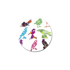 Birds Colorful Floral Funky Golf Ball Marker (4 Pack) by Amaryn4rt