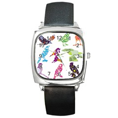 Birds Colorful Floral Funky Square Metal Watch by Amaryn4rt