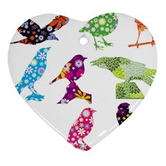 Birds Colorful Floral Funky Heart Ornament (two Sides) by Amaryn4rt