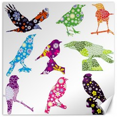 Birds Colorful Floral Funky Canvas 16  X 16   by Amaryn4rt
