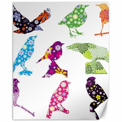 Birds Colorful Floral Funky Canvas 16  X 20   by Amaryn4rt