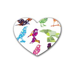 Birds Colorful Floral Funky Heart Coaster (4 Pack)  by Amaryn4rt