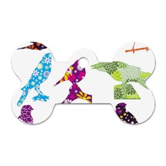 Birds Colorful Floral Funky Dog Tag Bone (two Sides) by Amaryn4rt