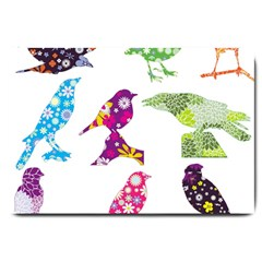 Birds Colorful Floral Funky Large Doormat  by Amaryn4rt