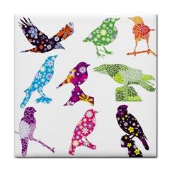 Birds Colorful Floral Funky Face Towel by Amaryn4rt