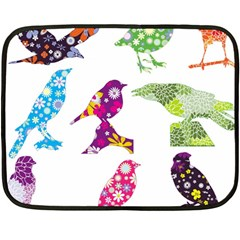Birds Colorful Floral Funky Fleece Blanket (mini) by Amaryn4rt