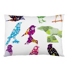 Birds Colorful Floral Funky Pillow Case (two Sides) by Amaryn4rt