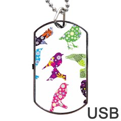 Birds Colorful Floral Funky Dog Tag Usb Flash (two Sides) by Amaryn4rt