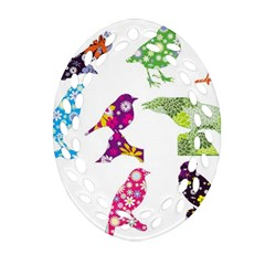 Birds Colorful Floral Funky Oval Filigree Ornament (two Sides) by Amaryn4rt