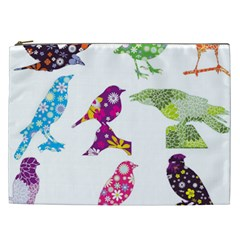 Birds Colorful Floral Funky Cosmetic Bag (xxl)  by Amaryn4rt