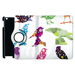 Birds Colorful Floral Funky Apple Ipad 3/4 Flip 360 Case by Amaryn4rt