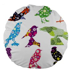 Birds Colorful Floral Funky Large 18  Premium Round Cushions by Amaryn4rt