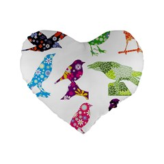 Birds Colorful Floral Funky Standard 16  Premium Heart Shape Cushions by Amaryn4rt