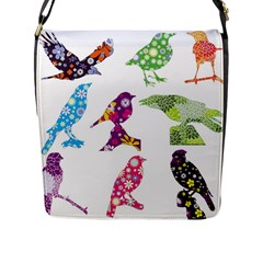 Birds Colorful Floral Funky Flap Messenger Bag (l)  by Amaryn4rt