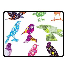 Birds Colorful Floral Funky Double Sided Fleece Blanket (small)  by Amaryn4rt