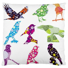 Birds Colorful Floral Funky Standard Flano Cushion Case (two Sides)