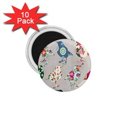 Birds Floral Pattern Wallpaper 1 75  Magnets (10 Pack)  by Amaryn4rt