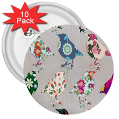 Birds Floral Pattern Wallpaper 3  Buttons (10 Pack)  by Amaryn4rt