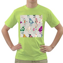 Birds Floral Pattern Wallpaper Green T Shirt