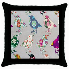 Birds Floral Pattern Wallpaper Throw Pillow Case (black) by Amaryn4rt