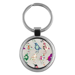 Birds Floral Pattern Wallpaper Key Chains (round)  by Amaryn4rt