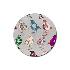 Birds Floral Pattern Wallpaper Rubber Round Coaster (4 Pack)  by Amaryn4rt