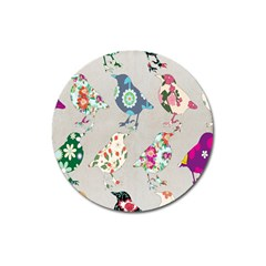Birds Floral Pattern Wallpaper Magnet 3  (round) by Amaryn4rt