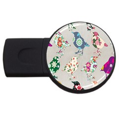 Birds Floral Pattern Wallpaper Usb Flash Drive Round (4 Gb) by Amaryn4rt