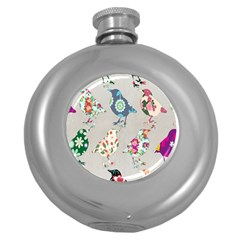 Birds Floral Pattern Wallpaper Round Hip Flask (5 Oz) by Amaryn4rt