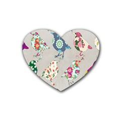 Birds Floral Pattern Wallpaper Rubber Coaster (heart)  by Amaryn4rt