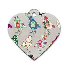 Birds Floral Pattern Wallpaper Dog Tag Heart (One Side)