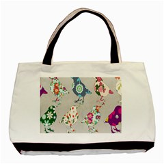 Birds Floral Pattern Wallpaper Basic Tote Bag (two Sides) by Amaryn4rt