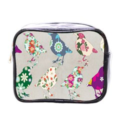 Birds Floral Pattern Wallpaper Mini Toiletries Bags by Amaryn4rt