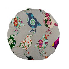 Birds Floral Pattern Wallpaper Standard 15  Premium Round Cushions by Amaryn4rt