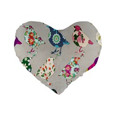 Birds Floral Pattern Wallpaper Standard 16  Premium Flano Heart Shape Cushions by Amaryn4rt