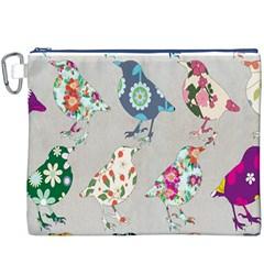 Birds Floral Pattern Wallpaper Canvas Cosmetic Bag (xxxl) by Amaryn4rt