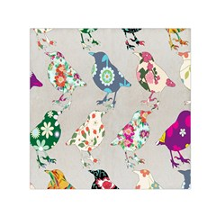 Birds Floral Pattern Wallpaper Small Satin Scarf (square) by Amaryn4rt