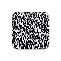 Black And White Leopard Skin Rubber Coaster (square)  by Amaryn4rt