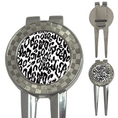 Black And White Leopard Skin 3 In 1 Golf Divots by Amaryn4rt