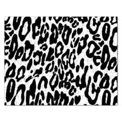 Black And White Leopard Skin Rectangular Jigsaw Puzzl by Amaryn4rt