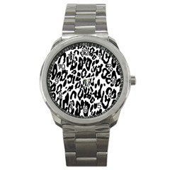 Black And White Leopard Skin Sport Metal Watch by Amaryn4rt