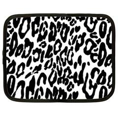 Black And White Leopard Skin Netbook Case (xxl)  by Amaryn4rt