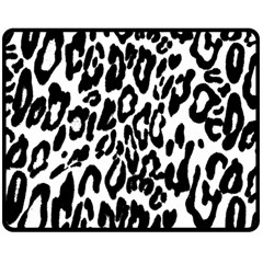 Black And White Leopard Skin Double Sided Fleece Blanket (medium)  by Amaryn4rt