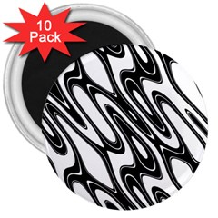 Black And White Wave Abstract 3  Magnets (10 Pack)  by Amaryn4rt