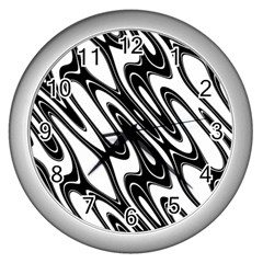 Black And White Wave Abstract Wall Clocks (silver)  by Amaryn4rt