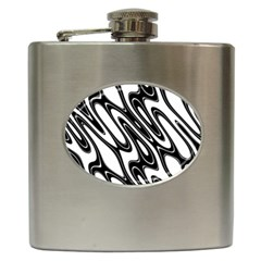 Black And White Wave Abstract Hip Flask (6 Oz) by Amaryn4rt